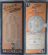 Carte Géographique MICHELIN - N° 073 CLERMONT Fd / LYON - 1946 - Roadmaps