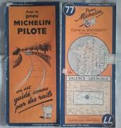 Carte Géographique MICHELIN - N° 077 VALENCE / GRENOBLE - 1939 - Roadmaps