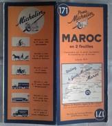 Carte Géographique MICHELIN - N° 171 MAROC En Deux Feuilles- 1941 - Roadmaps