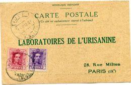 ESPAGNE CARTE POSTALE BON POUR UN FLACON ECHANTILLON D'URISANINE DEPART TIJOLA 1 MAR 27 POUR LA FRANCE - Cartas