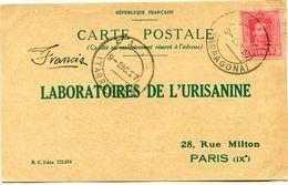 ESPAGNE CARTE POSTALE BON POUR UN FLACON ECHANTILLON D'URISANINE DEPART FLIX 9 DIC 27 POUR LA FRANCE - Cartas