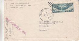 Etats Unis - Lettre De 1940 - Oblit Chicago - Exp Vers Vienne - Griffe Trans Atlantic Air Mail - Avec Censure - Etats-Unis