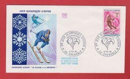 Enveloppe Premier Jour /Jeux Olympiques D'Hiver / Disciplines Alpines  : Slalom Et Descente / 6 Février 1968 / Grenoble - 1960-1969