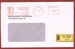 Salzburger Festspiele  1984 Freistempel Langes Standardkuvert - Musik