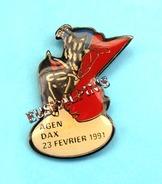 Pin's Rugby 91, Match U.S.DAX Contre S.U.AGEN, Corrida, Taureau, Toro - Rugby