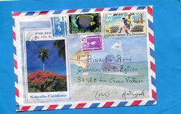 Marcophilie-lettre-nouvelle Caledonie>France--cad 1988-4-stamps N°512 Stadium Mexico-footbal+519 Pôisson - Briefe U. Dokumente