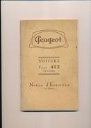 Notice  D'entretien  PEUGEOT Voiture Type 402 Légère (1ere édition) - Auto
