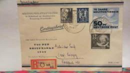 """DDR Bis 64: FDC-Orts-Eil-Brief Mit SoSt. """"Tag Der Briefmarke 1949"""" Mit Zusatzfr. 242,243, SBZ Köpfe 30.10.49 Knr: 245 Ua - Briefe U. Dokumente"""