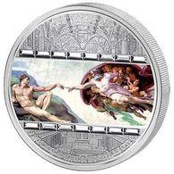 Cook Islands 2008 20$ Masterpieces Of Art Creation Of Adam Michelangelo RARE Silver 93.3gr,mintage 1000,15 Swarowski - Cook Islands