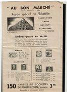 BR39 - AU BON MARCHE RAYON PHILATELIE MARS 1939 ENCART 3 VOLETS  6 FACADES - Catalogues De Maisons De Vente
