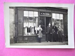 Rare Cpa Photo Devanture De La Mercerie Bonnetrie Lingerie J. PADER A VALLON En SULLY - France
