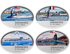 2010 Set Of 4 Coins SUBMARINES OF THE WORLD -  FIJI. Silver, Proof,  125 Gr, Original Box As SUBMARINE - Fiji
