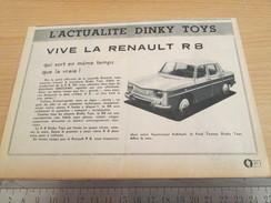 Page De Revue Des Années 60/70 : PUBLICITE DINKY TOYS RENAULT R8 1/43e ; Dimensions : Voir Règle Sur La Photo - Dinky