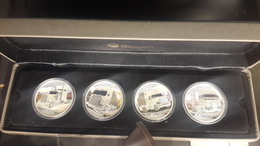 2010 Set Of 4 Coins TRUCKS - KINGS OF THE ROAD - TUVALU. Silver, Proof,  132 Gr, Original Box - Tuvalu