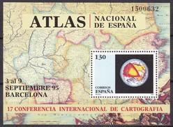1995, Spanien, 3241 Block 59, Konferenz Für Kartographie, Barcelona. MNH ** - Blocs & Hojas