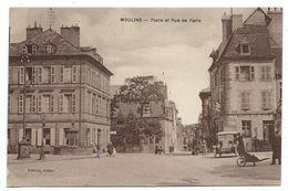 CPA - MOULINS, PLACE ET RUE DE PARIS - Allier 03 - Animée, Voiture Ancienne - Edit. Boutray - Moulins