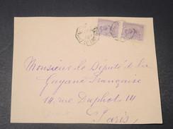 GUYANE - Devant D 'enveloppe Pour Paris , Oblitération Convoyeur -  L 10741 - Guyane Française (1886-1949)