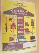 Page De Revue Des Années 60 : PUBLICITE CHEWING GUM CLARK'S JOUETS CADEAUX ; Dimensions :  Page A4 - Coca-Cola