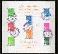 FRANCE    Feuillet De 8 Timbres Les Couleurs De Marianne  2002   Y&T: 45   Feuillet Plissé       Oblitéré - Sheetlets
