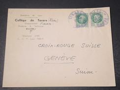 FRANCE - Enveloppe Du Collège De Tarare Pour La Suisse , Période De L 'administration De Vichy -  L 10755 - Marcophilie (Lettres)