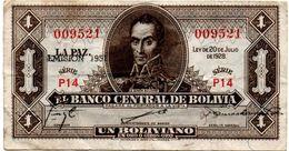 1928 KP 128b EMISION 1951. UN BOLIVIANO. CIRCULADO. - Bolivia