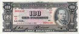 1945 KP 147 CIEN BOLIVIANOS / DIEZ BOLÍVARES. SEGUNDA EMISIÓN. XF. - Bolivia
