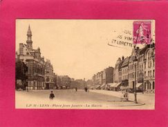 62 Pas De Calais, Lens, Place Jean-Jaurès, La Mairie, Animée, Stand Ambulant, (L. Pollet) - Lens