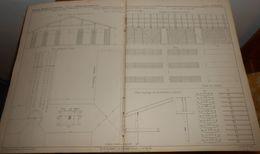 Plan D'un Atelier Et Séchoir Pour La Fabrication Des Tuyaux De Drainage. 1856. - Public Works