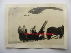 Megève Traineau Cheval Skieur Petite Photo Originale Cliché Amateur Inédit Années 30 ? 74 Haute Savoie - Megève