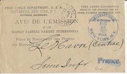 1907 - USA - LETTRE FRANCHISE AVIS De MANDAT D'ARTICLE D'ARGENT De NEW YORK => LE HAVRE (SEINE INFERIEURE) - Covers & Documents