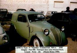PHOTO 15/10 CM.. SIMCA  TYPE 5  TOPOLINO  COMMERCIAL 569 Cc  . ..1938..         DOS VIERGE - Automobiles