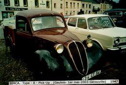 PHOTO 15/10 CM.. SIMCA  TYPE 8  PICK-UP     . ..1947..           DOS VIERGE - Automobiles