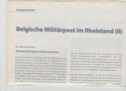 """Literatur 106 / Belgische Post Im Besetzten Rheinland. """" DIN A 4 Seiten Mit Abbildungen - Military Mail And Military History"""