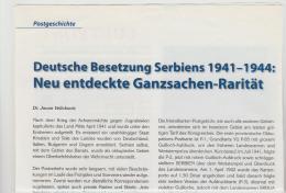 Literatur 101 / Serbien, Deutsche Besetzung II. Weltkrieg. 2 DIN A 4 Seiten Mit Div. Abbildungen - Military Mail And Military History