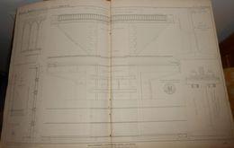 Plan D'un Pont Rail En Bois Et Fer Laminé. 1856. - Travaux Publics