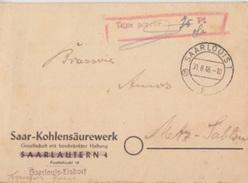 Lettre à Entête De Saarlouis 1 B Contrôle 18 (Sarre Française) Le 31/8/45 Pour Metz + Taxe Perçue 75pf - 1947-56 Occupation Alliée