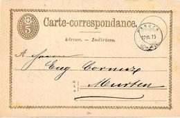 Carte-correspondance 5c Brun (PRÄGEDRUCK MIT RELIEF) Mit Stempel Von WANGEN 17.III.75 - Interi Postali