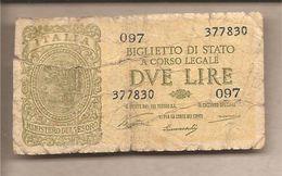 """Italia - Banconota Circolata Da 2 £ """"Italia Laureata"""" P-30a - 1944 Ventura/Simoneschi/Giovinco - Italia – 2 Lire"""