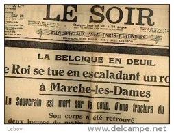 """DYNASTIE """"LE SOIR"""" N° 50 Du 19/02/1934 - Mort D'Albert I - Kranten"""