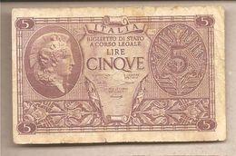 "Italia - Banconota Circolata Da 5 £ ""Atena Elmata - 1944 Bolaffi/Simoneschi/Giovinco - [ 1] …-1946 : Kingdom"