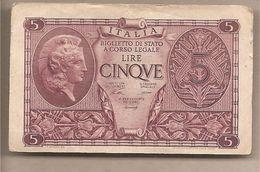 "Italia - Banconota Circolata Da 5 £ ""Atena Elmata"" - 1944 Ventura/Simoneschi/Giovinco - [ 1] …-1946 : Kingdom"