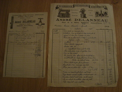 LOT DE 2 FACTURES ANDRE DELANNEAU PLOMBERIE COUVERTURE ZINGUERIE MORMANT 77 - France