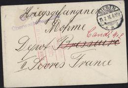 Guerre 14 Prisonnier Allemand Bressuire Deux Sèvres Candi Censure Siegen Cachet Rouge Censure Dépôt Bressuire - Guerra De 1914-18