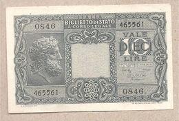 """Italia - Banconota Non Circolata FdS Da 10 £ """"Giove"""" - 1944 Bolaffi/Cavallaro/Giovinco - [ 1] …-1946 : Kingdom"""