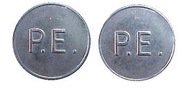 00087 GETTONE TOKEN JETON FICHA AMUSEMENT MACHINE P.E.= Phonographic Equipment Square Dots - Unclassified