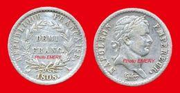 """France Napoléon Premier Empire Au Revers """"REPUBLIQUE"""" 398 TTB+ 1808A (Paris) De DEMI Franc 18mm Tranche Lisse, 2,5gr Arg - G. 50 Centimes"""