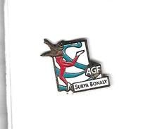 Pin's  Sport  J.O  Avec  Banque  Assurances  A G F  Et  La  Patineuse  SURYA  BONALY - Banks