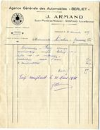 47  GONTAUD   SAINT PIERRE DE NOGARET  AGENCE GENERALE DES AUTOMOBILES BERLIET  -  J ARMAND   -   FACTURE 1935 - Cars