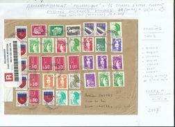 1 LR....compositions Philatéliques Avec 36 Petits  Timbres Divers. D'usage Courant...spectaculaire.............à Voir. - 1961-....