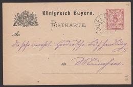 Bayern Königreich 5 Pf GA-Karte Von HINDELANG Aus 1886 Nach München - Bayern